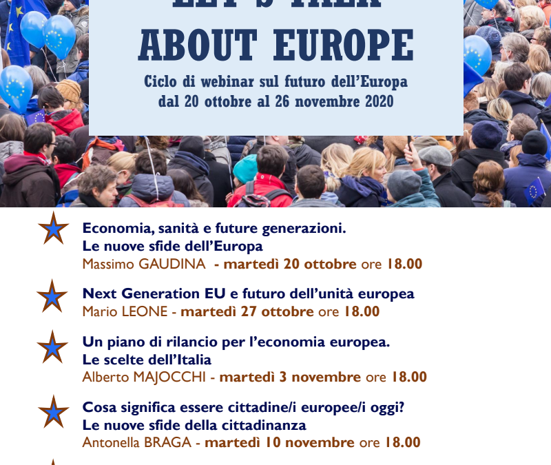 Let's talk about Europe – ciclo di webinar sul futuro dell'Europa
